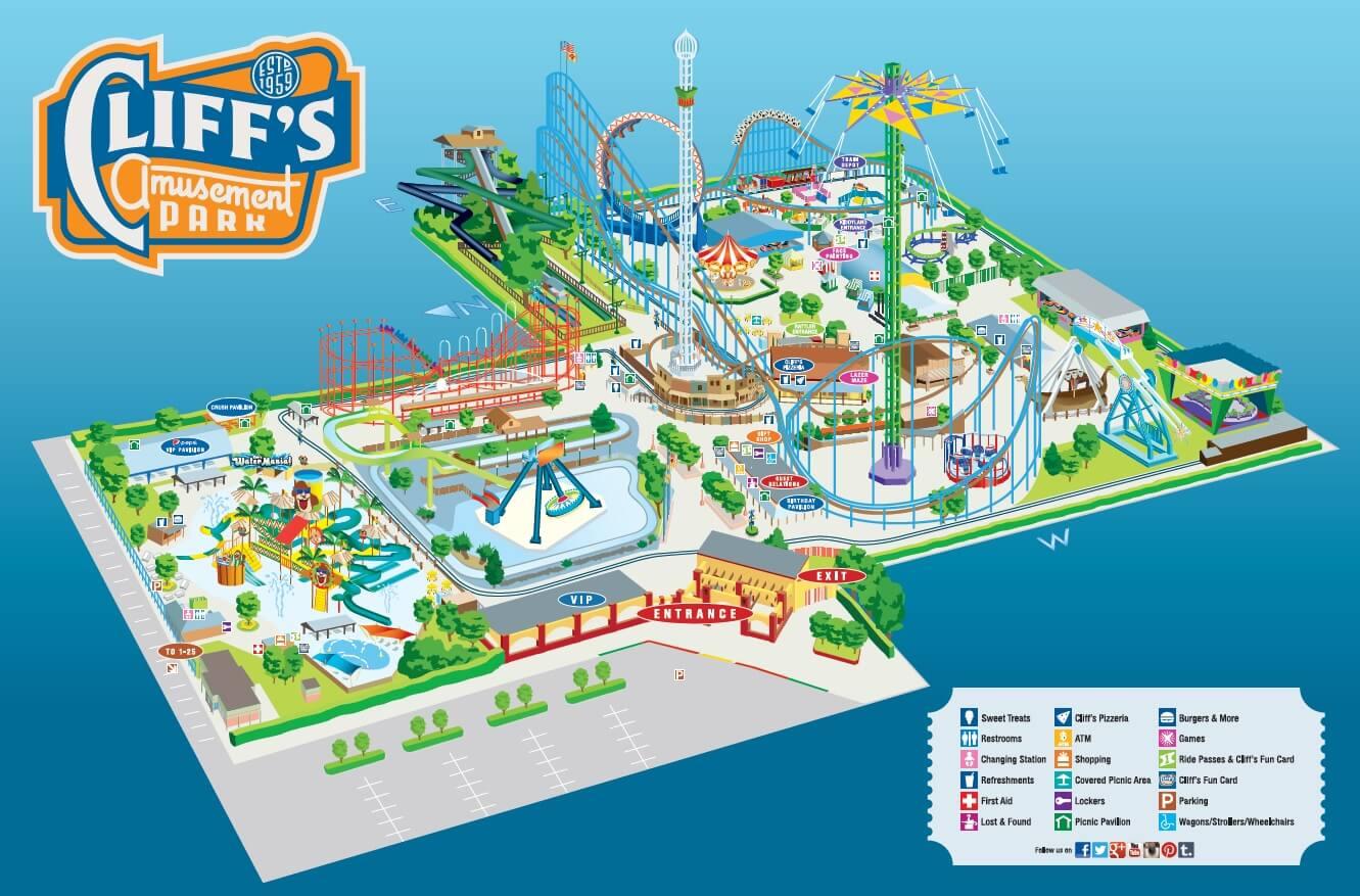 Amusement Park Map Park Map   Cliff's Amusement Park